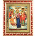 """Икона Богородицы """"Целительница"""" и врачеватели, рамка с узором 19*22,5 - Иконы"""