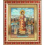 Преподобный Роман Сладкопевец, икона в рамке с узором 19*22,5 см - Иконы