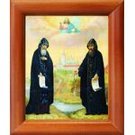 Преподобные Сергий и Герман, Валаамские чудотворцы, рамка 8*9,5 см - Иконы