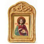 Великомученик и целитель Пантелеимон, икона в резной деревянной рамке - Иконы