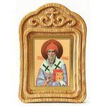Святитель Спиридон Тримифунтский, икона в резной деревянной рамке - Иконы