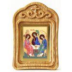 Святая Троица, икона в резной деревянной рамке - Иконы