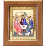 Святая Троица, икона в широкой деревянной рамке 14,5*16,5 см - Иконы