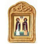 Благоверные князья Петр и Феврония Муромские, икона в резной рамке - Иконы
