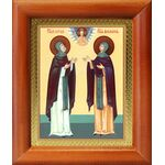 Благоверные князья Петр и Феврония Муромские, икона в рамке 8*9,5 см - Иконы