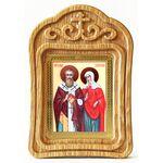 Священномученик Киприан и мученица Иустина, икона в резной рамке - Иконы