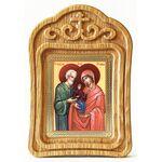 Праведные Иоаким и Анна, икона в резной деревянной рамке - Иконы