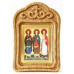 Мученики и исповедники Гурий, Самон и Авив, икона в резной рамке - Иконы