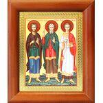 Мученики и исповедники Гурий, Самон и Авив, икона в рамке 8*9,5 см - Иконы