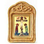 Распятие с предстоящими, икона в резной деревянной рамке - Иконы