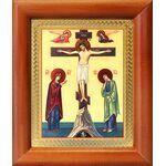 Распятие с предстоящими, икона в деревянной рамке 8*9,5 см - Иконы