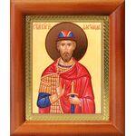 Благоверный князь Александр Невский, икона в деревянной рамке 8*9,5 см - Иконы