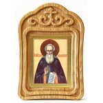 Преподобный Александр Свирский, икона в резной рамке - Иконы