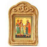 Благоверные князья Борис, Глеб и Роман, икона в резной рамке - Иконы