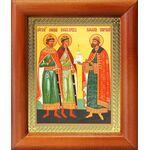 Благоверные князья Борис, Глеб и Роман, икона в рамке 8*9,5 см - Иконы