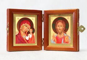 Складень дорожный, Спаситель - Казанская, Византийское письмо, 8*9,5 см - Складни