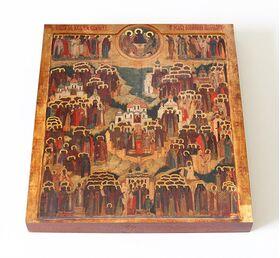 Образ всех святых, в Земле Российской просиявших, доска 14,5*16,5 см - Иконы