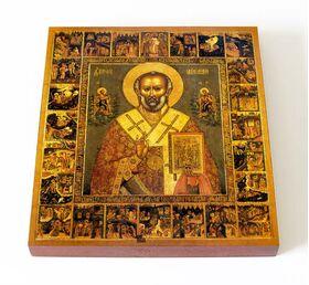 Святитель Николай Чудотворец с житием, печать на доске 14,5*16,5 см - Иконы