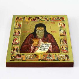 Преподобный Агапит Печерский с житием, икона на доске 20*25 см - Иконы