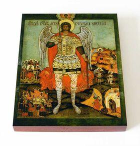 Архангел Михаил с деяниями, XVII-XVIII вв, печать на доске 13*16,5 см - Иконы