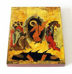 Сошествие во ад, Новгород, 1370-1380-е гг, икона на доске 13*16,5 см - Иконы