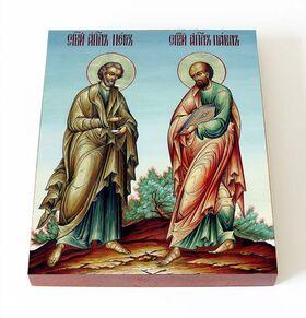 Святые первоверховные апостолы Петр и Павел, икона на доске 13*16,5 см - Иконы