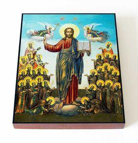Спас с Вологодскими святыми, икона на доске 13*16,5 см - Иконы
