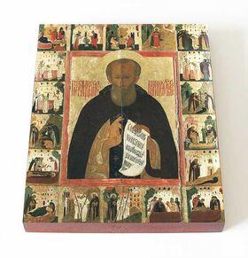 Преподобный Димитрий Прилуцкий с житием, печать на доске 13*16,5 см - Иконы
