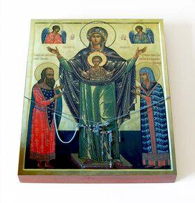 Мирожская икона Божией Матери, печать на доске 13*16,5 см - Иконы