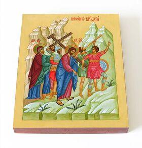 Несение Креста, икона на доске 13*16,5 см - Иконы