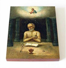 Преподобный Иоанн Печерский, Многострадальный, икона на доске 8*10 см - Иконы