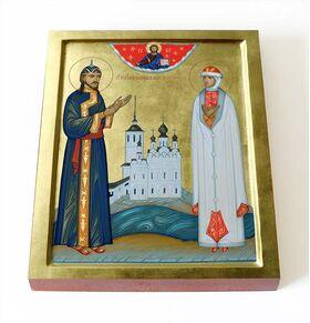 Праведные Иоанн и Мария Устюжские, икона на доске 8*10 см - Иконы