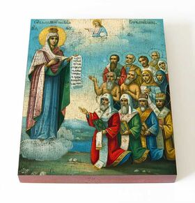 Боголюбская Московская икона Божией Матери, доска 13*16,5 см - Иконы