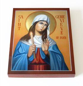 Преподобная Женевьева Парижская, Геновефа, икона на доске 13*16,5 см - Иконы