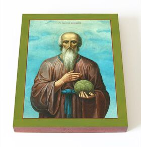 Блаженный Николай Кочанов, Новгородский, икона на доске 13*16,5 см - Иконы