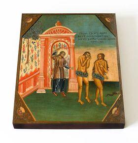 Изгнание Адама и Евы из рая, икона на доске 13*16,5 см - Иконы