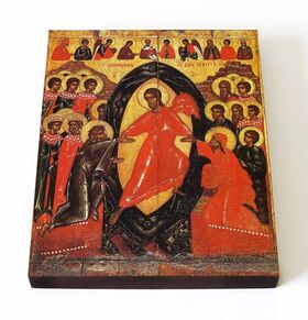 Сошествие во ад, Псков, XIV век, икона на доске 13*16,5 см - Иконы