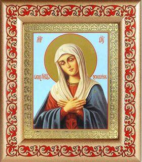 """Икона Божией Матери """"Умиление"""", широкая рамка с узором 14,5*16,5 см - Иконы"""