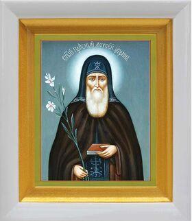 Преподобный Моисей Угрин, Печерский, венгр, белый киот 14*16 см - Иконы