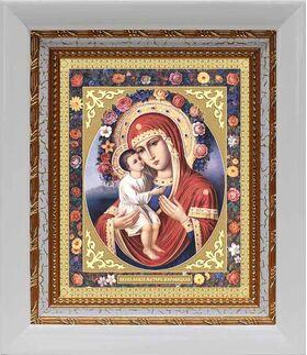 Жировицкая икона Божией Матери, белый киот 14*16 см - Иконы
