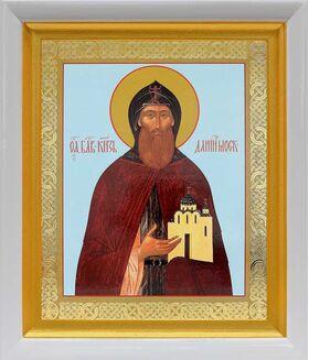 Благоверный князь Даниил Московский, икона в белом киоте 19*22 см - Иконы