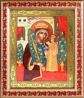 """Икона Божией Матери """"Неувядаемый Цвет"""", в рамке с узором 19*22,5 см - Иконы"""