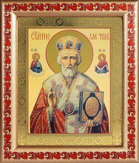 Святитель Николай Чудотворец в красном, рамка с узором 19*22,5 см - Иконы