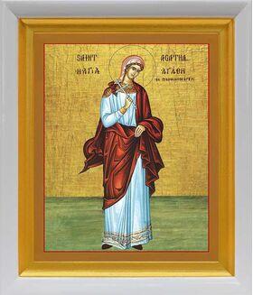 Мученица Агафия Панормская, икона в белом киоте 19*22 см - Иконы