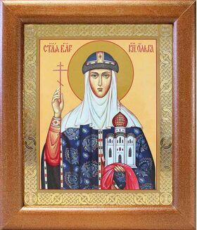 Равноапостольная княгиня Ольга, икона в широкой рамке 19*22,5 см - Иконы