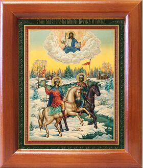 Благоверные князья Борис и Глеб на конях, икона в рамке 12,5*14,5 см - Иконы