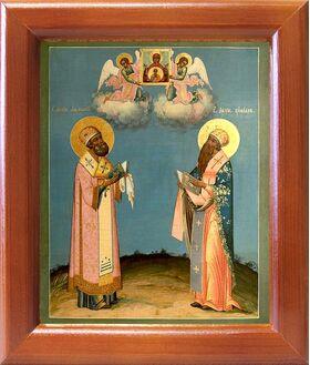 Святители Кирилл и Афанасий Александрийские, икона в рамке 12,5*14,5см - Иконы
