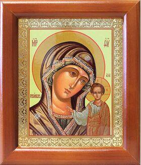 Казанская икона Божией Матери в зеленом облачении, рамка 12,5*14,5 см - Иконы
