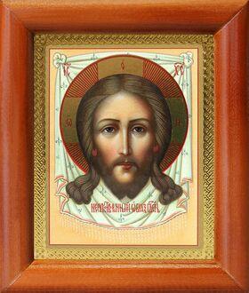 Нерукотворный Образ Господа Иисуса Христа, икона в рамке 8*9,5 см - Иконы