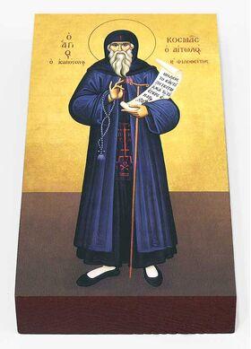 Равноапостольный Косма Этолийский, Афонский, икона на доске 7*13 см - Иконы